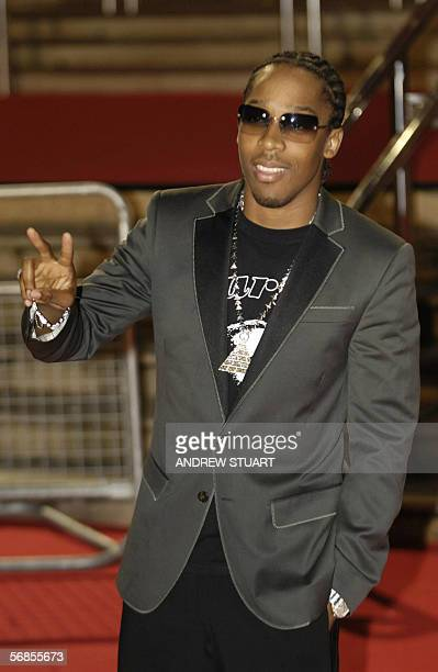 British singer Lamarr arrives at the Earl's Court Exhibition Centre in London 15 February 2006 to attend the British Music Awards Stars from the...