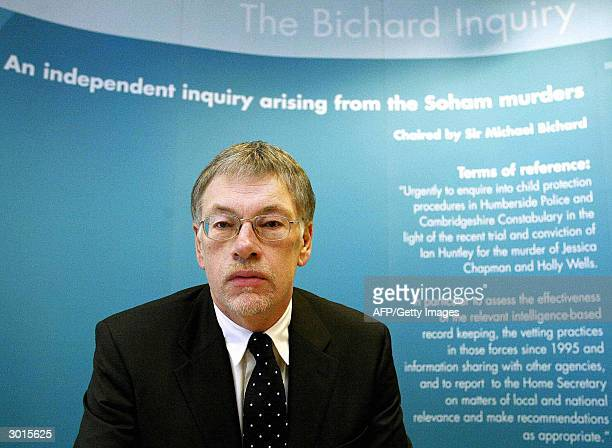 Chairman and former Whitehall mandarin Sir Michael Bichard opens the Bichard Inquiry in central London 26 February which aims to examine how Soham...