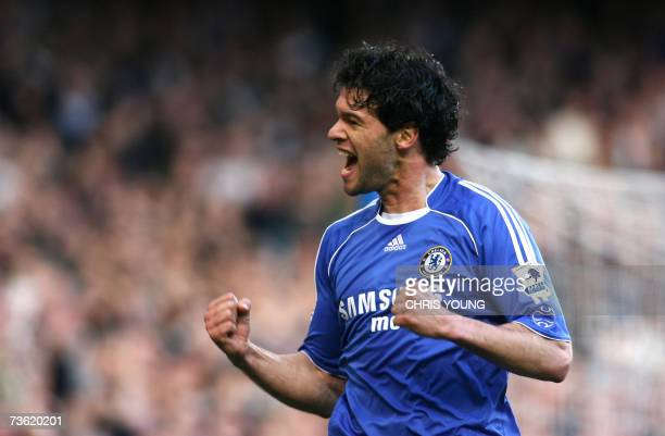 Chelsea's German International midfielder Michael Ballack celebrates scoring his side's third goal during the Premiership match between Chelsea and...