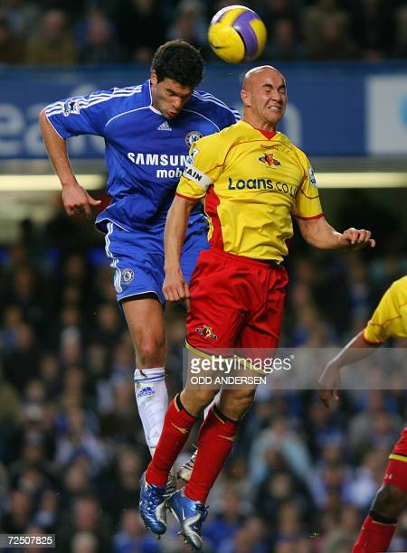 Chelsea's German midfielder Michael Ballack vies for the ball with Watford midfielder Gavin Mahon during their Premeirship match at Stamford Bridge...