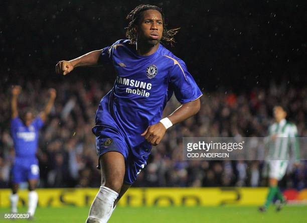 London, UNITED KINGDOM: Chelsea's Ivorian striker Didier Drogba celebrates his goal against Betis Seville during the Champions League Group G...