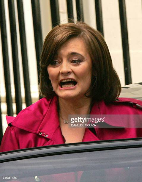Cherie Blair wife of outgoing British Prime Minister Tony Blair speaks with members of the media as she leaves 10 Downing Street in central London 27...