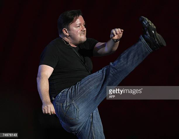 Comedian Ricky Jervais dances during the 'Concert for Diana' at Wembley Stadium in London 01 July 2007 An international lineup of pop stars paid...