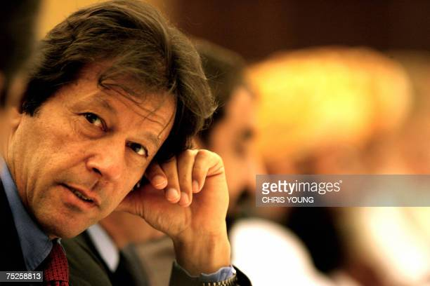 Cricketerturnedopposition politician Imran Khan attends 07 July 2007 in London the All Party Conference for opposition talks in a bid to rescue...