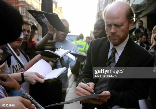 Director Ron Howard signs autographs at the premiere of the Hollywood film The Cinderella Man at the Curzon cinema London 08 September 2005 AFP...