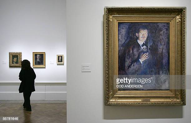 Edvard Munch's 'Self portrait with cigarette' hangs in the Royal Academy of Arts in London 27 September 2005 The exhibition 'Edvard Munch by Himself'...
