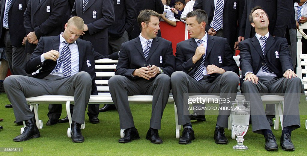 England cricketers Andrew Flintoff (far : News Photo