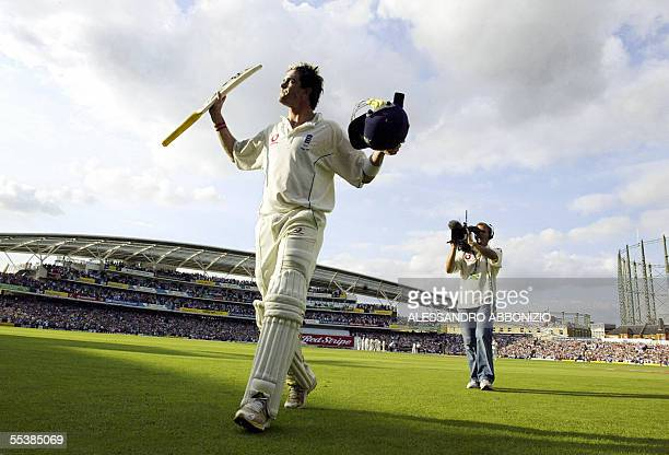 London, UNITED KINGDOM: England's Kevin Pietersen acknowledges the crowd's applause after finally losing his wicket to Australia's Glenn McGrath for...