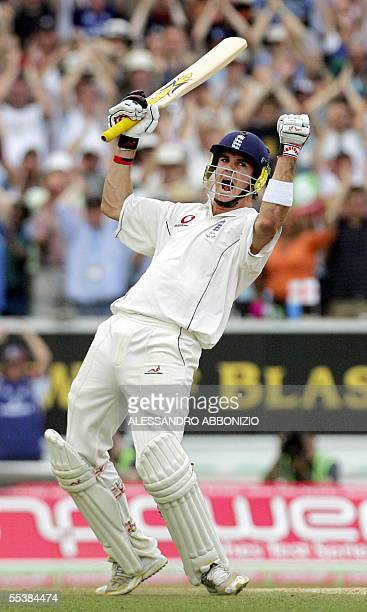 Englands Kevin Pietersen celebrates his first Test century as he bats against Australia on the fifth day of the fifth and final NPower Ashes Test...