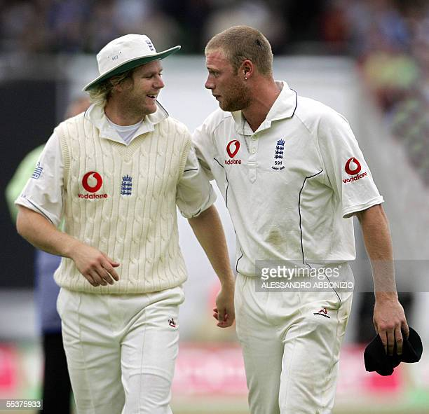 English bowlers Matthew Hoggard and Andrew Flintoff celebrate after England dismissed Australia for a first innings total of 367 on the fourth day of...