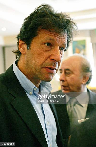 London, UNITED KINGDOM: Former Pakistani cricketer and opposition politician Imran Khan addresses the media after a meeting in central London, 11...