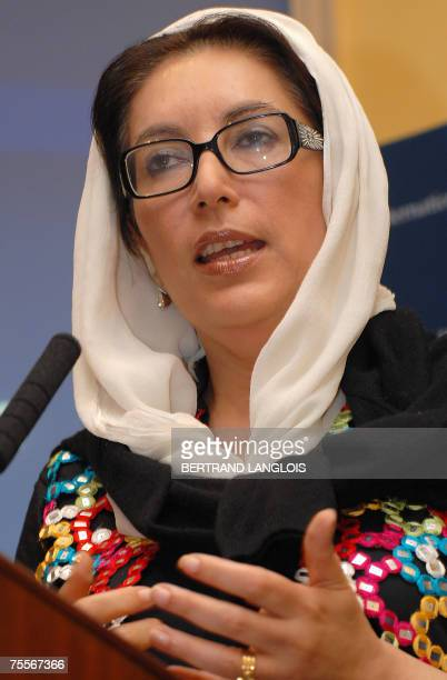 Former Pakistani prime minister Benazir Bhutto who currently chairs the Pakistan People's Party delivers a speech at the International Institute for...