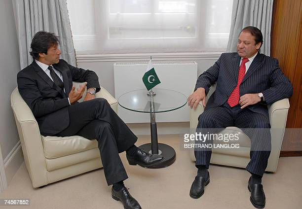 Former Pakistani Prime Minister Nawaz Sharif and ex opposition politician and cricketer Imran Khan meet in central London 12 June 2007 Sharif and...