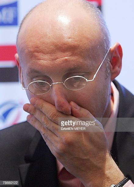 France's rugby union team head coach Bernard Laporte gestures during a press conference at his hotel in London 12 March 2007 one day after loosing VI...