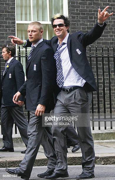 London, UNITED KINGDOM: Freddie Flintoff and Kevin Pietersen of the England Cricket team walk to no. 10 Downing St, London for a meeting with British...