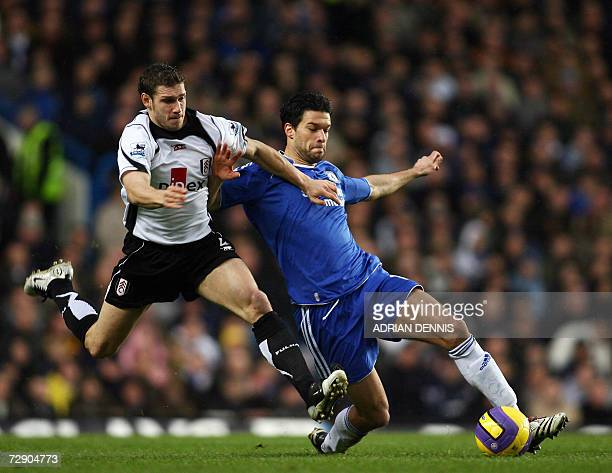 Fulham's Moritz Volz challenges for the ball against Chelsea's Michael Ballack during the Premiership football match at Stamford Bridge in London 30...