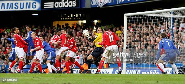 Goal mouth scramble which resulted in a goal by Chelsea's Mikel to take them 30 up against Nottingham Forest during a FA Challenge Cup Fourth Round...