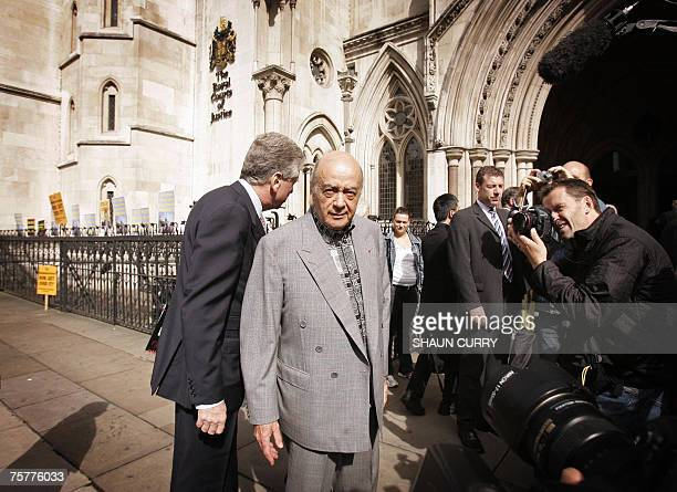 Harrods department store owner Mohamed Al Fayed arrives at the London High Court 27 July 2007 for the preliminary hearing ahead of the coroner's...