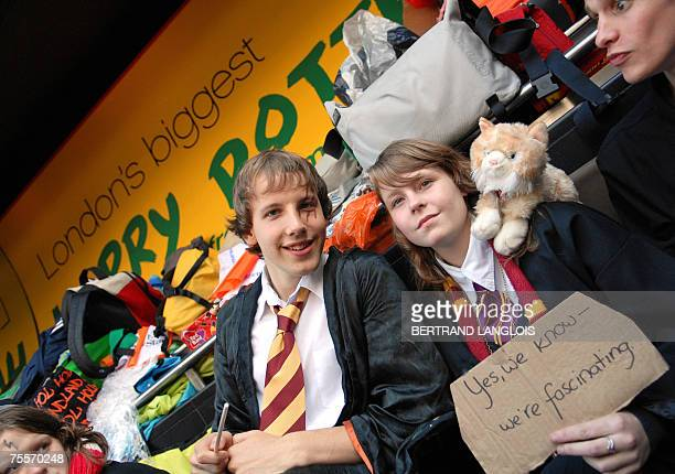 Harry Potter fans queue outside a bookshop in central London 20 July 2007 as they await the release of the seventh and final book by JK Rowling...