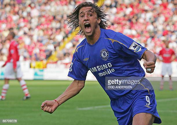 Hernan Crespo of Chelsea celebrates his goal against Charlton during a premiership match at The Valley stadium in south east London 17 September 2005...
