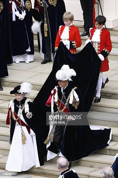 HM Queen Elizabeth II and the Duke of Edinburgh walk towards their carriage following the Garter service at the St George's chapel at Windsor castle...