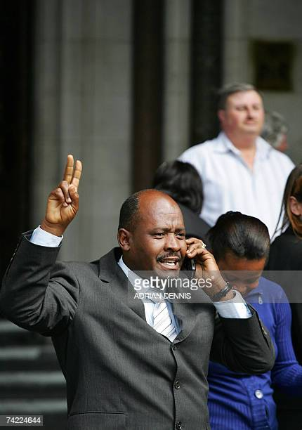 Louis Olivier Bancoult Chairman of the Chagos Refugees Group celebrates outside The High Court in central London 23 May 2007 The High Court on...