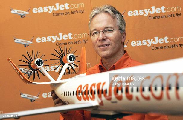 Low cost airline EasyJet Chief Executive Andy Harrison unveils a new jet airline design called the easyJet ecoJet which will emit 50% less C02 and be...