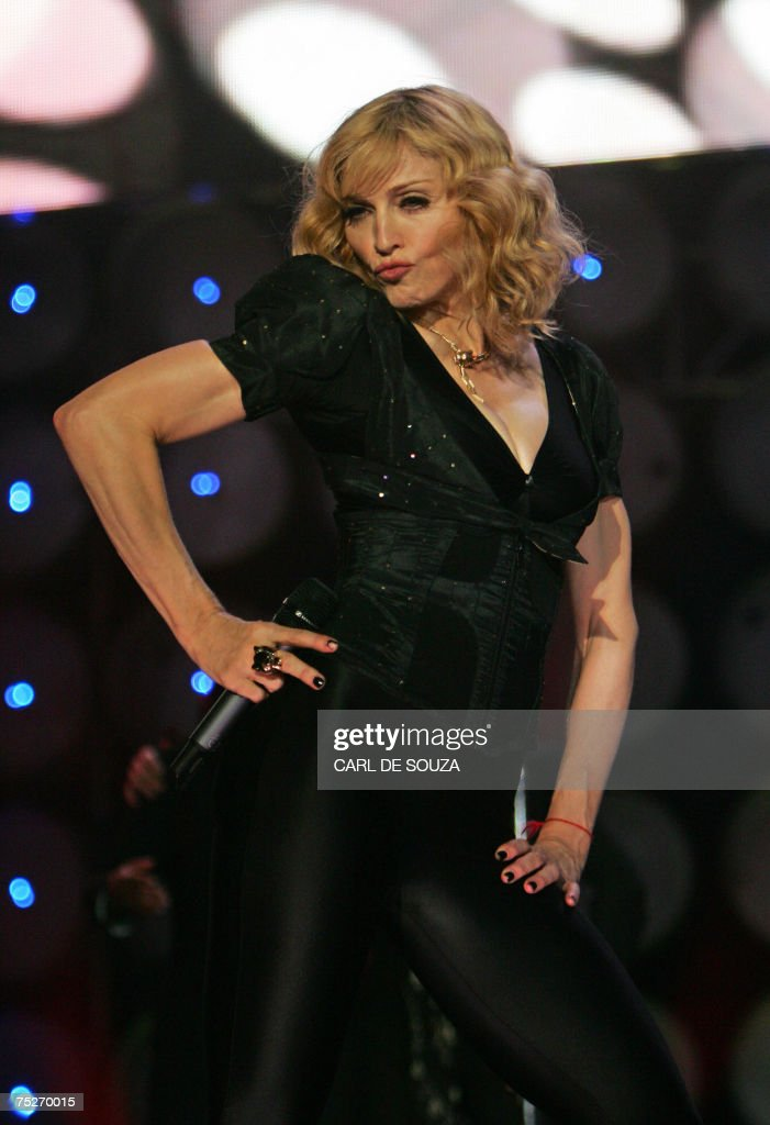 Madonna performs at the Live Earth concert at Wembley stadium in London, 07 July 2007.