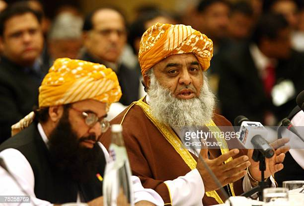 Maulana FazalurRehman the leader of the opposition in the National Assembly in Pakistan attends 07 July 2007 in London the All Party Conference for...