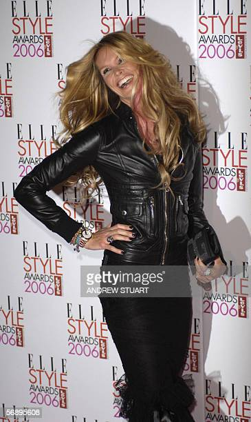 Model Elle MacPherson arrives at the Atlantis Gallery in Brick Lane to attend the Elle Style Awards 2006 in London 20 February 2006 AFP PHOTO /...