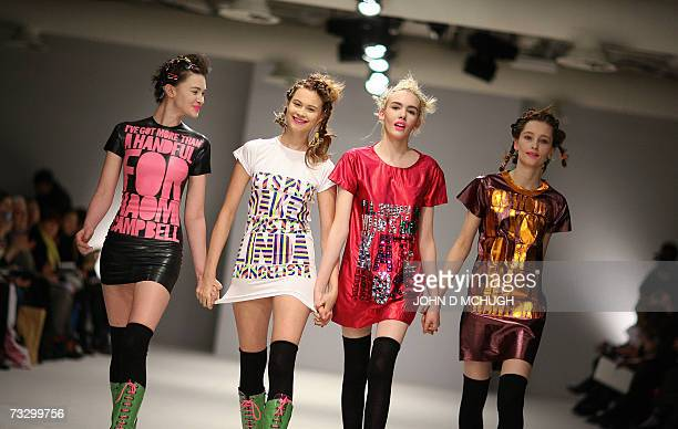 London, UNITED KINGDOM: Models show creations from the Autumn / Winter 2007 collection of House of Holland at London Fashion Week, London, 12...