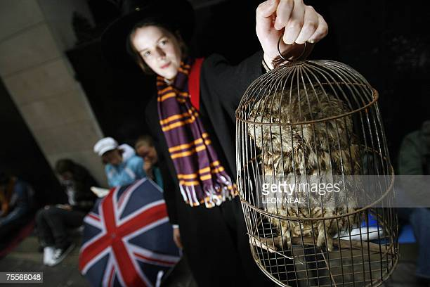 Oscar Sieling from Copenhagen holds up his stuffed owl as he waits for the release of the final installment of the Harry Potter series of books at...