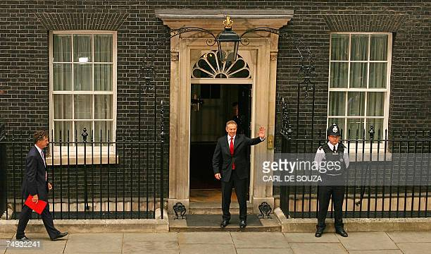 Outgoing British Prime Minister Tony Blair bids farewell to the media as he and Chief of Staff Jonathon Powell leave 10 Downing Street for the last...