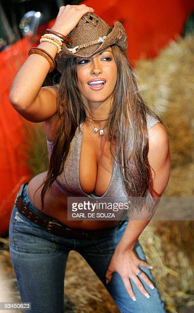 Page three girl Jodi Marsh poses for the media at the British premiere of the film the Dukes of Hazzard starring Jessica Simpson and Johnny Knoxville...