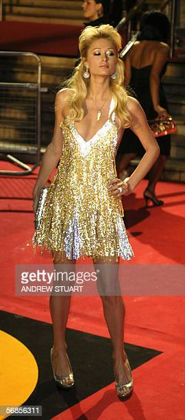 Paris Hilton arrives at the Earl's Court Exhibition Centre in London 15 February 2006 to attend the British Music Awards Stars from the world of...
