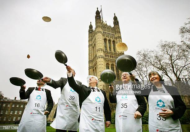 Participants in the 2007 Parliamentary pancake race undertake a practice session on College Green in aid of charity early Shrove Tuesday morning...