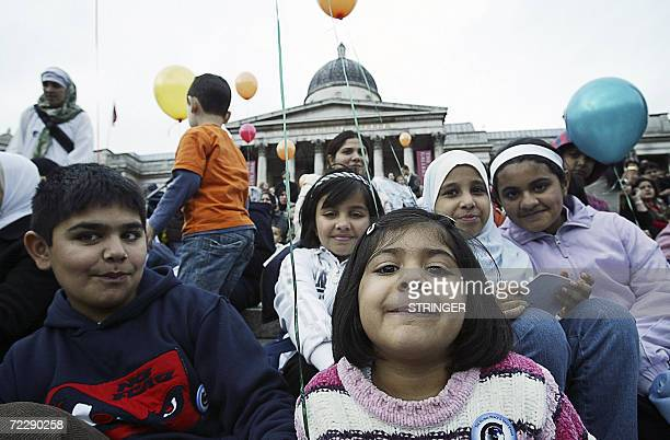 People gather for the first annual celebration in Trafalgar Square of the Muslim festival of Eid ulfitr marking the end of Ramadan 28 October 2006...
