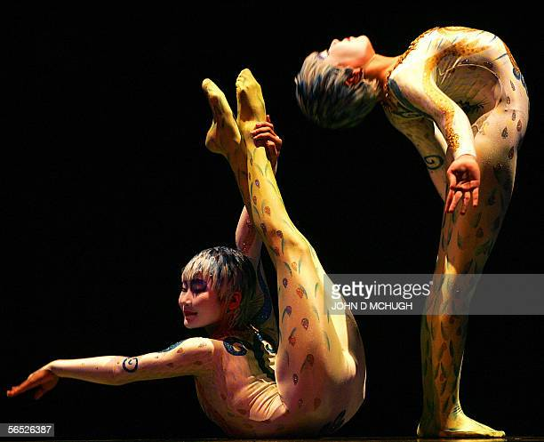 Performers from Cirque du Soleil run through a dress rehearsal of their Alegria show at the Royal Albert Hall in London 4 January 2006The circus and...