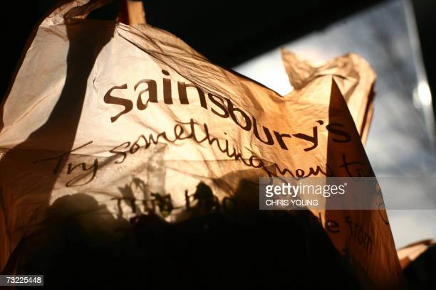 Picture of a Sainsbury's shopping bag containing groceries taken at a Sainsbury's supermarket in west London on Tuesday 06 February 2007 Cinven and...