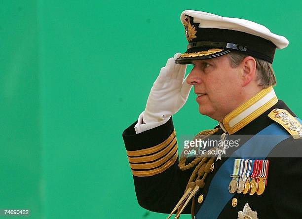 Prince Andrew salutes during a Falklands War commemoration Horseguards Parade in London 17 June 2007 Britain's leaders war veterans and bereaved...