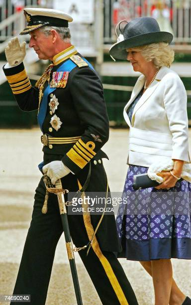 Prince Charles and Camilla Duchess of Cornwall arrive for a Falklands War commemoration at Horseguards Parade London 17 June 2007 Margaret Thatcher...