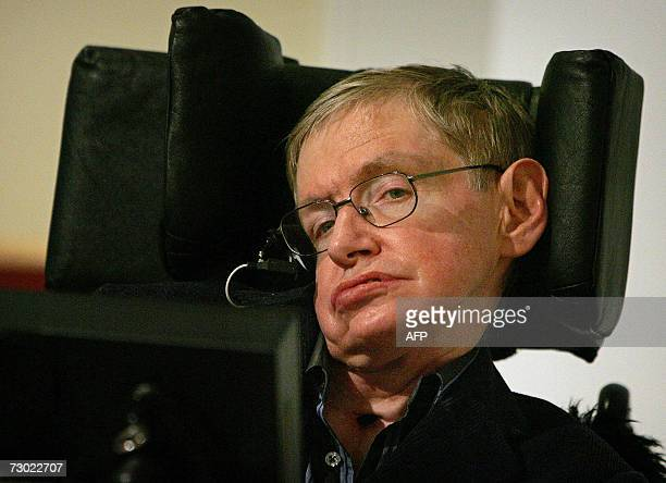 Professor Stephen W Hawking attends a joint press conference between Washington and London where the directors of the Bulletin of the Atomic...