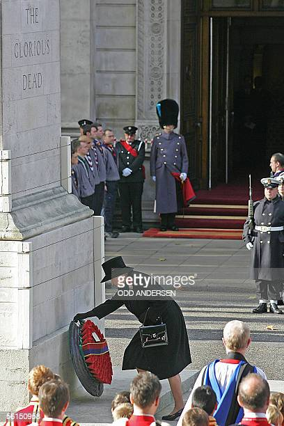 Queen Elizabeth II lay a wreath at the Cenotaph during the Remembrance Sunday service at Whitehall in London 13 November 2005 The Queen led tributes...