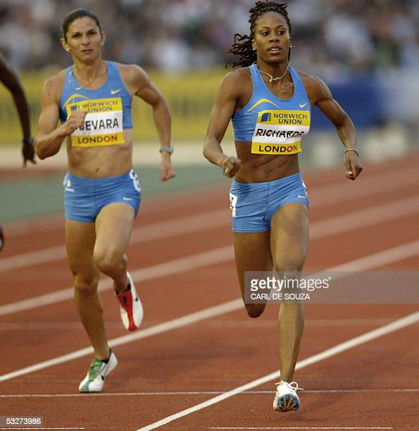 Sanya Richards of the United States ahead of Mexican Ana Gabriela Guevara wins the Norwich Union London Grand Prix womens 400 metres setting a new...