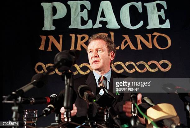 Sinn Fein chief negotiator Martin McGuinness answering journalists' question during a press conference in London 26 February 1998 Sinn Fein the...