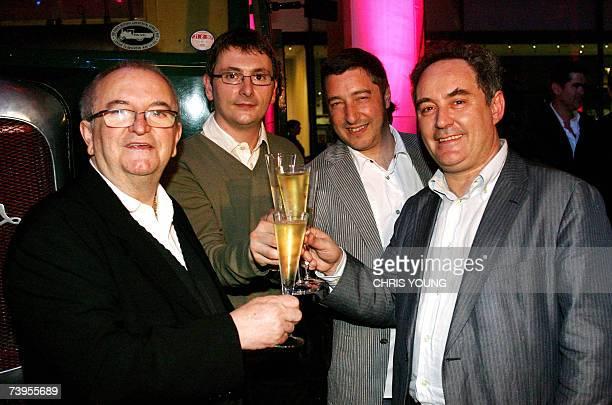 Spanish chefs Jose Maria Arzak Andoni Luis Aduriz Joan Roca and Ferran Adria share a toast during the 'World's 50 Best Restaurants Award's in London...