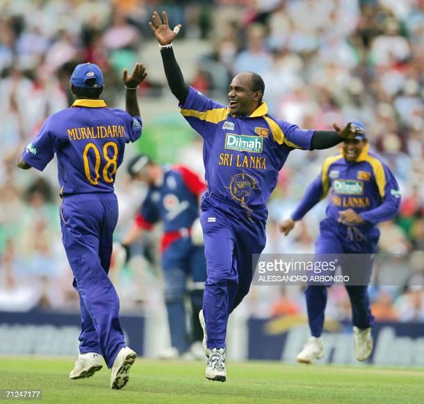 London, UNITED KINGDOM: Sri Lankan bowler Sanath Jayasuria celebrates after dismissing Englands Kevin Pietersen for 79 runs during the second of five...