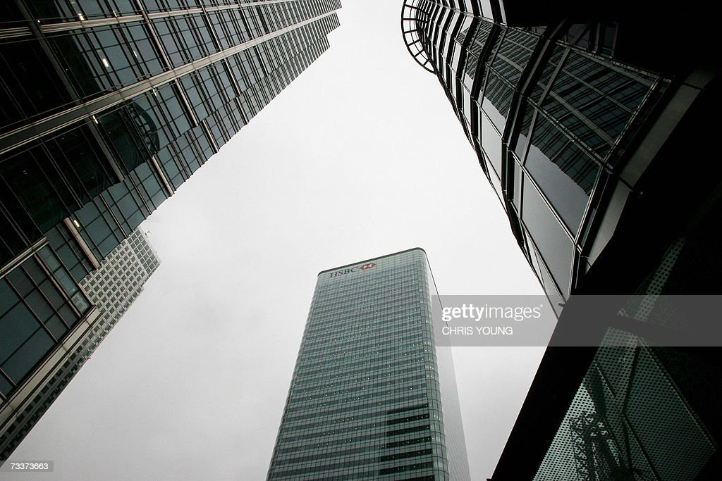 The HSBC bank head office building is pictured at Canary Wharf in