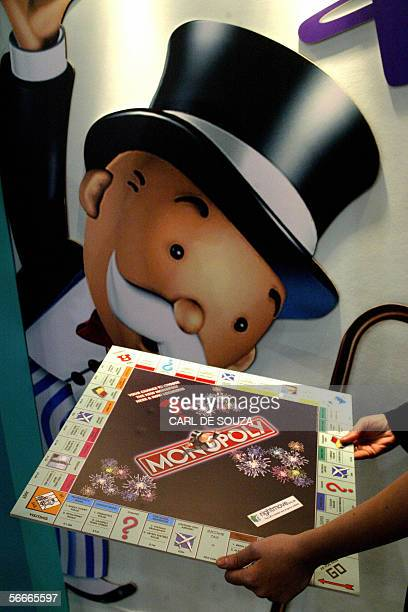 London, UNITED KINGDOM: The prototype for the new Monopoly board game is unveiled at the London Toy Fair Show at the Excel centre, London, 25 January...