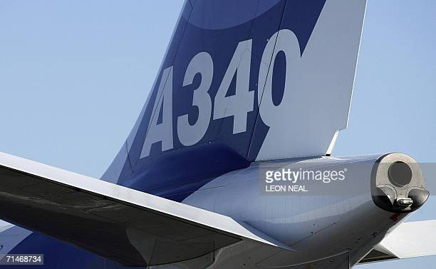 The tail fin of an Airbus A340 airliner is seen 18 July 2006 at the Farnborough Airshow Held every two years the show allows aviation companies from...